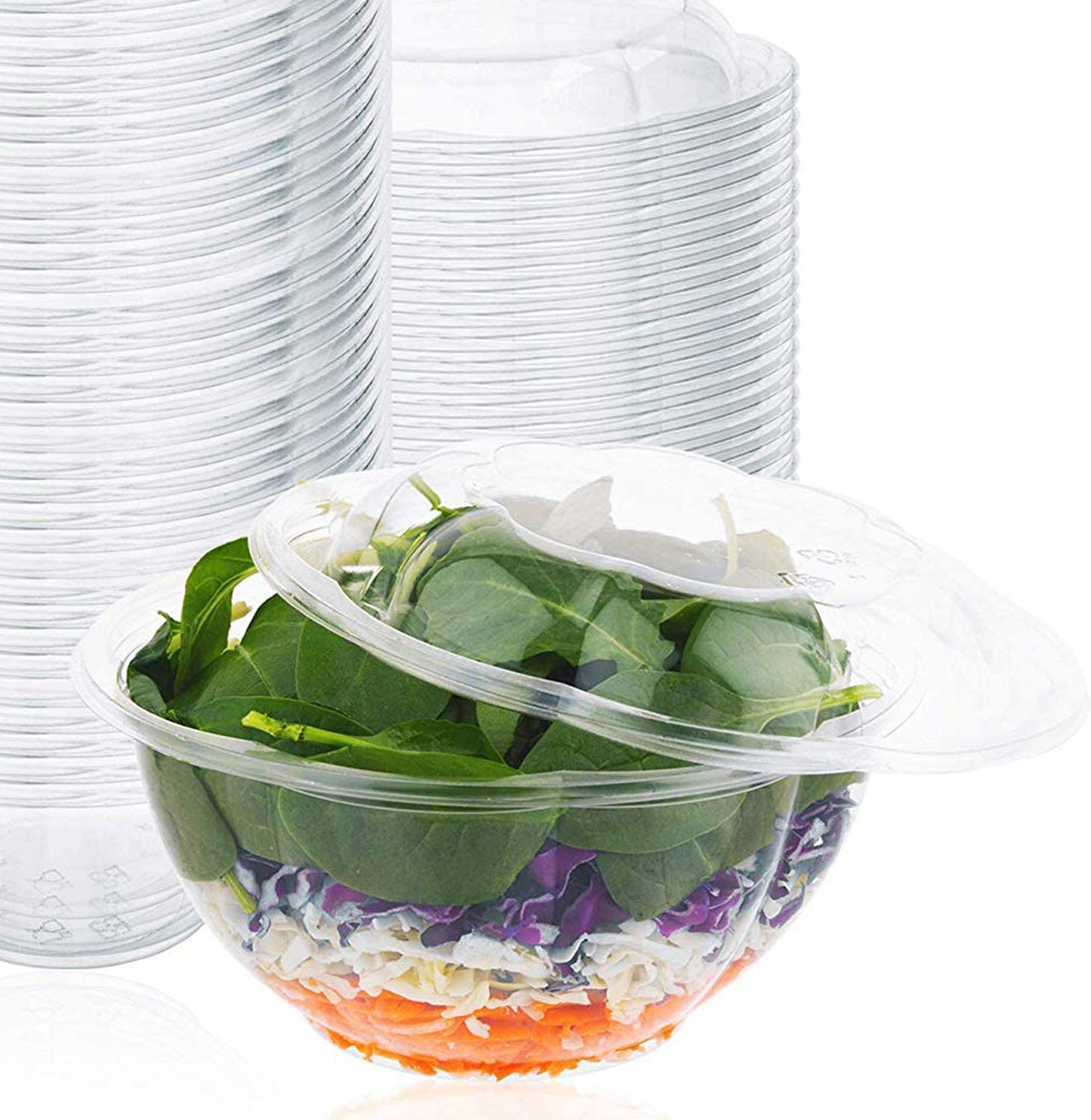 Amazon Com Plastic Salad Bowls 50 Count 32 Oz Disposable Salad Bowls With Lids To Go Container With Airtight Lids Kitchen Dining