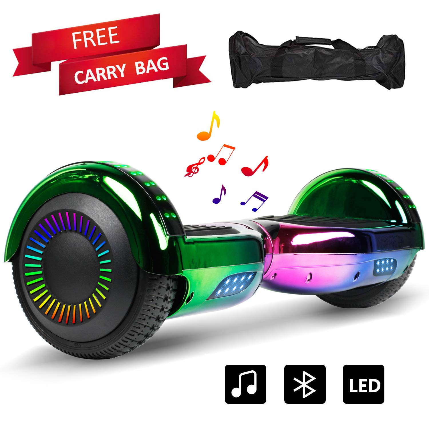 Sea Eagle Hoverboard Self Balancing Scooter Bluetooth Speaker Hover Board for Kids Adults with UL2272 Certified, Wheels LED Lights and Portable Carrying Bag - Chrome Colorful