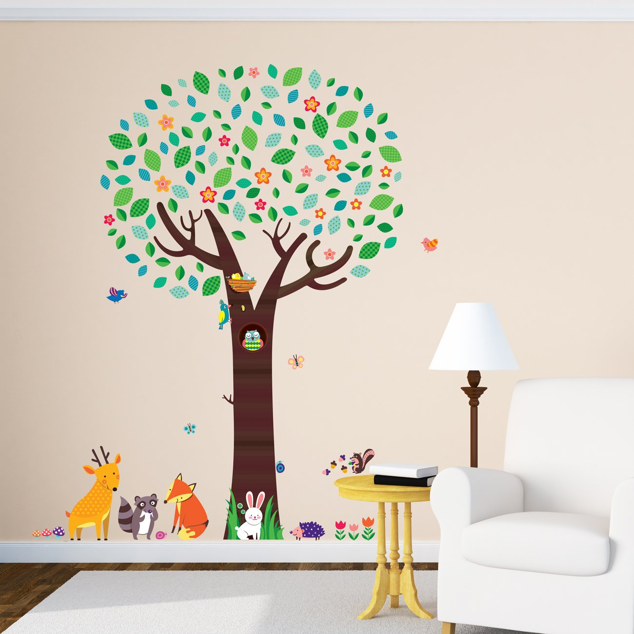 Decowall DM-1312 Large Tree with Animal Friends Kids Wall Stickers Wall Decals Peel and Stick Removable Wall Stickers for Kids Nursery Bedroom Living Room