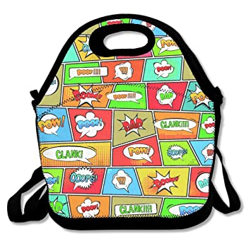 bac42bb60d4b Amazon.com - Clank Pop Art Style Lunch Bags Lunch Tote Lunch Box Handbag  For Kids And Adults -
