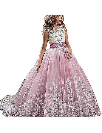2efd401450767 Lilis Full Length Flower Girl Dress Girls Prom Wedding Dress for Special  Occasion Pink