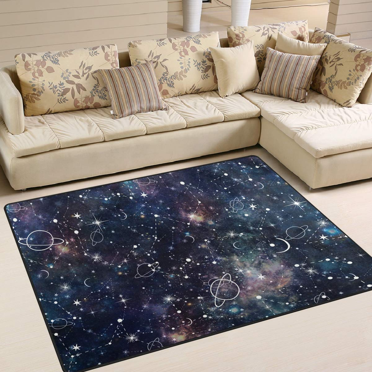 La Random Large Soft Rugs 63x48 Inches Night Planet Star Non-Skid Lightweight Nursery Yoga Rugs Play Mat for Kids Playing Room Living Room Bedroom Floor Mats