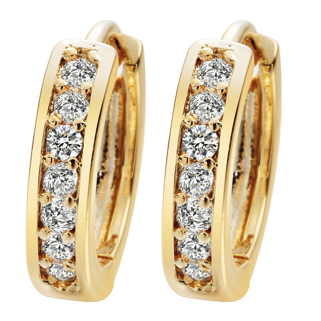 24K Gold Cubic Zirconia Round Hoop Earrings Filled Clear Design Ladies Womens Fashion Earrings for Girls Zircon A2121 Newyuan aaN0007-1