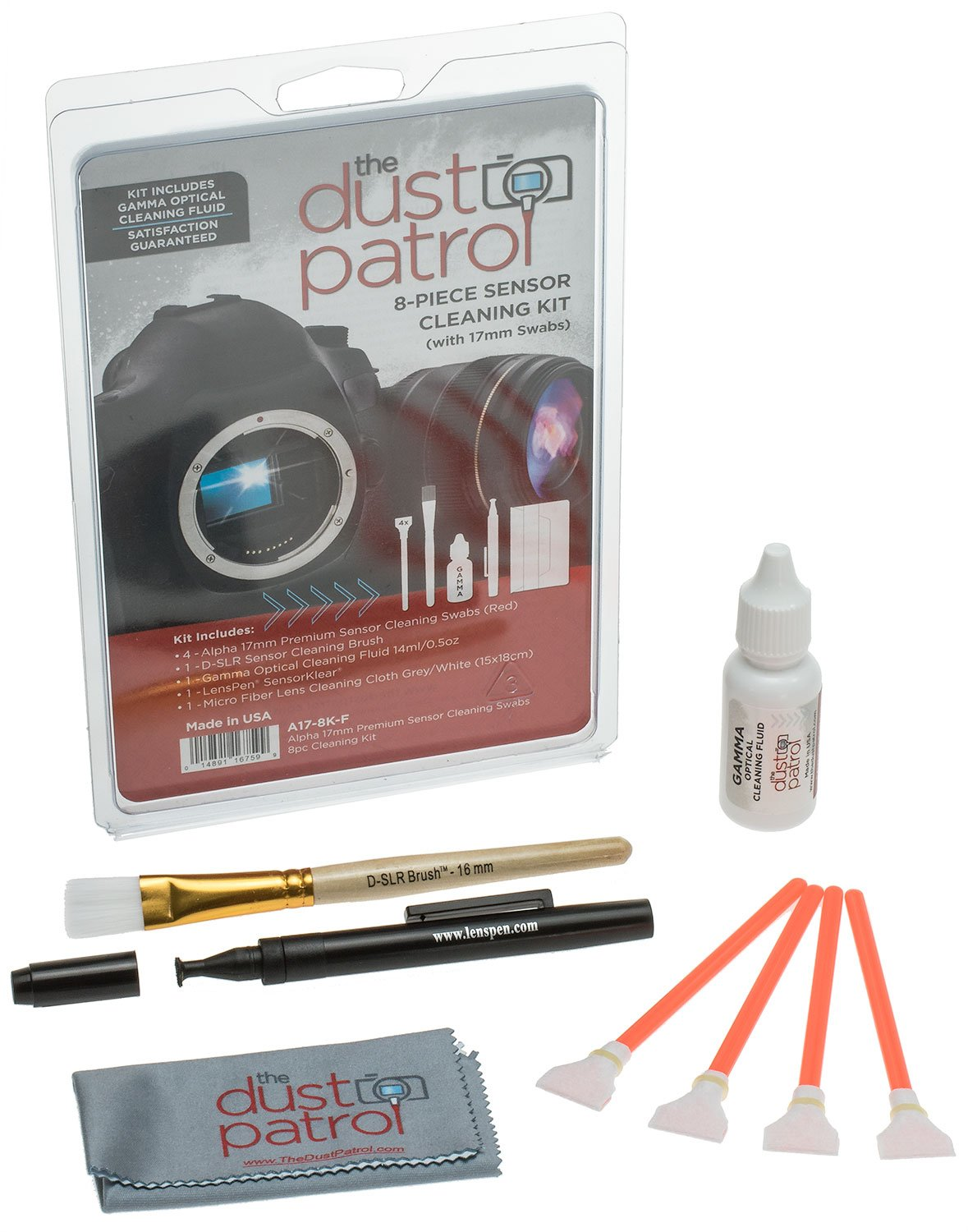 Alpha 17mm Sensor Cleaning Swabs 8pc Kit w/Gamma by The Dust Patrol (Image #1)