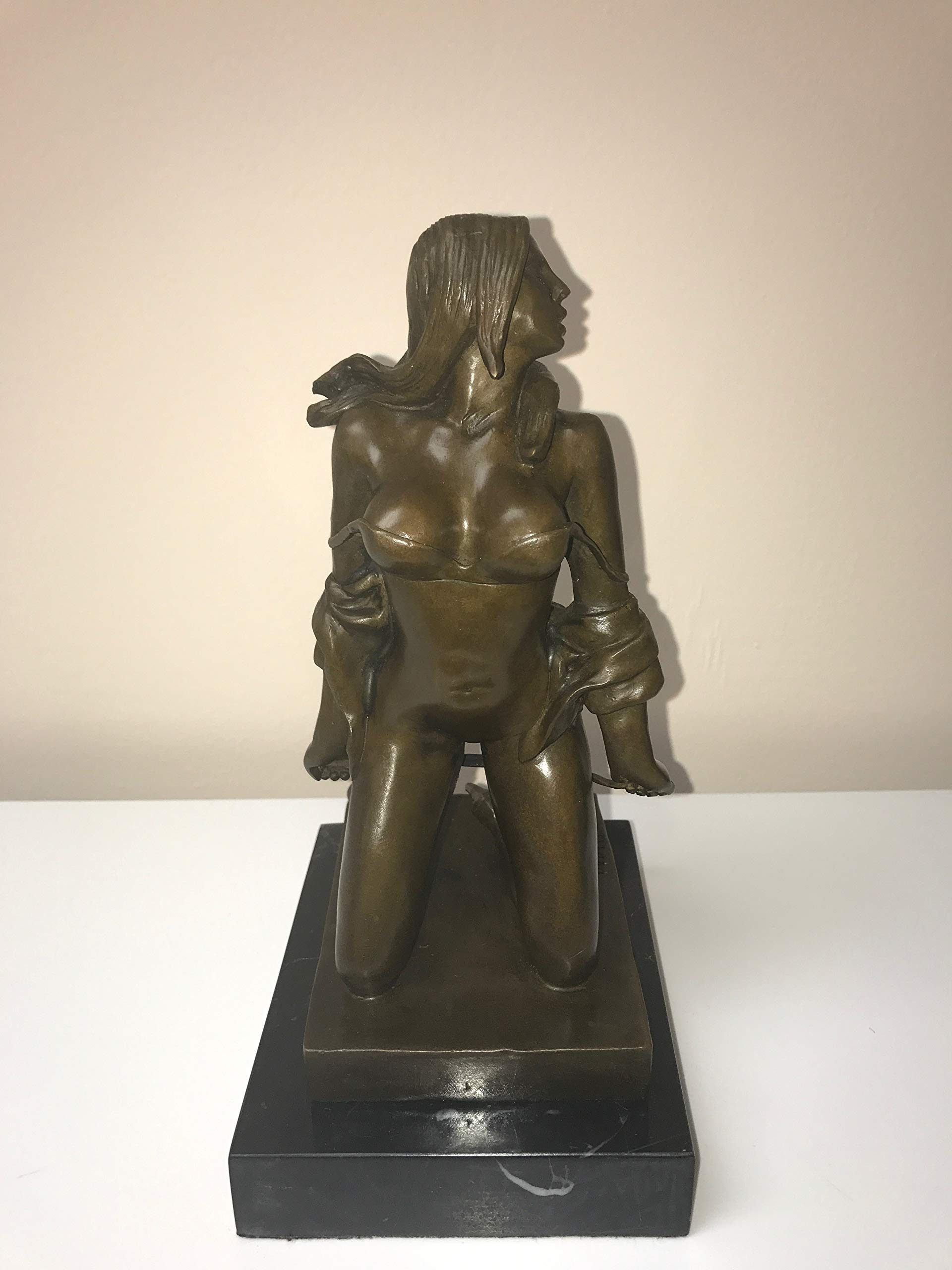Bronze Statue Woman - Sexy Erotic Bronze Statue Tease - Hard Spanking - Clothes Falling Off - Big Breasts and Nice Ass - Real - European Art - Sexy Statues and Figurines