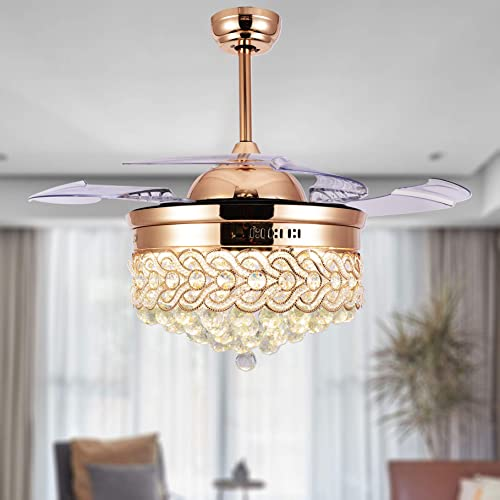 42″ Modern Crystal Ceiling Fan