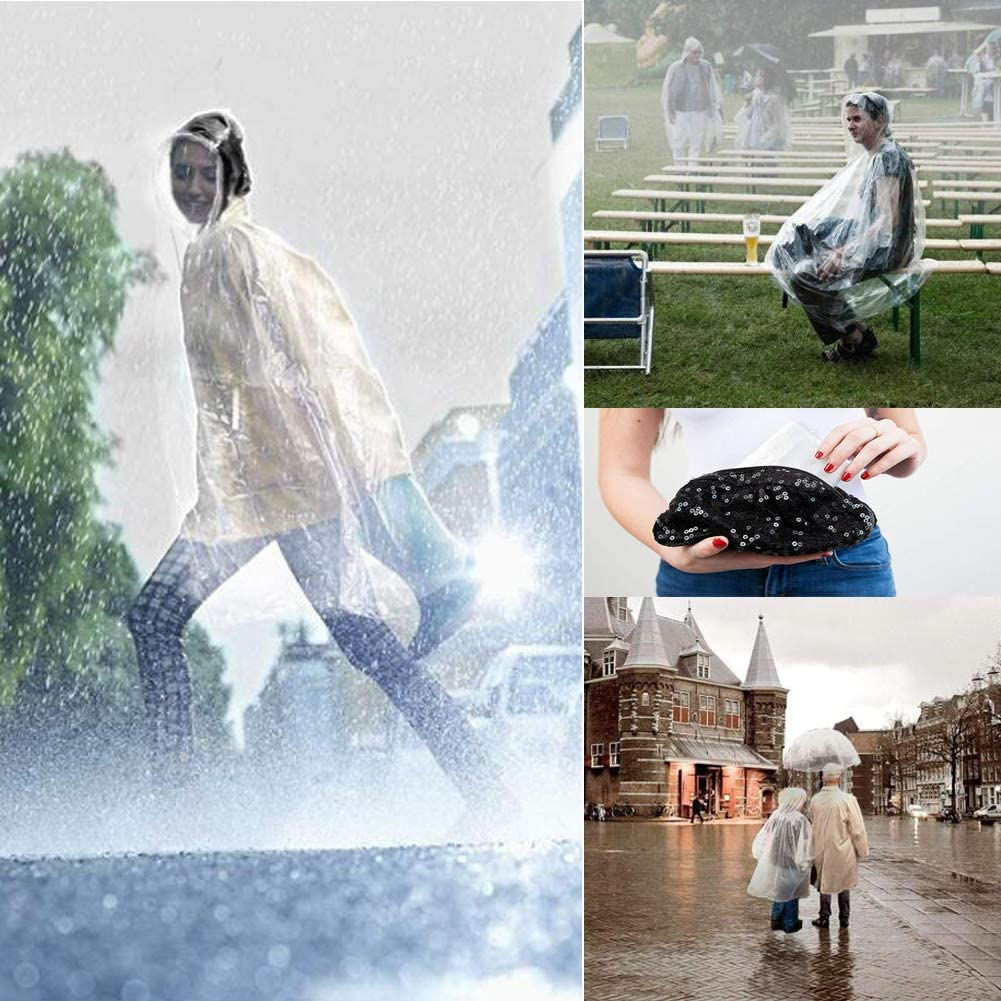 N NEWKOIN 7pcs Impermeable Poncho Transparente port/átil con Sombrero para Hombres Mujeres Transparente, Talla /única