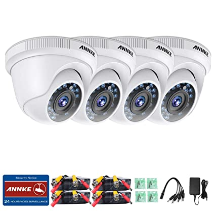 ANNKE Kit de 4 Cámaras de vigilancia 1080P Luz Estelar No-Ruido IP66 Impermeable con