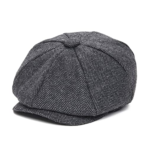 cd62df69b2c JANGOUL Boys Vintage Newsboy Cap Tweed Flat Beret Cabbie Hat for Kids  Toddler Pageboy (50cm