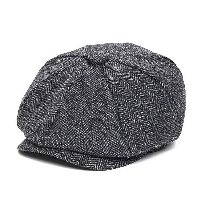 JANGOUL Boys Vintage Newsboy Cap Tweed Flat Beret Cabbie Hat for Kids  Toddler Pageboy (50cm 168062b2528