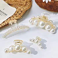 Hair Claw Clips for Women Large Pearl Jaw Clips Fashion Pearl Hair Clips Plastic Hair Catch Hair Barrette Assorted Sizes…