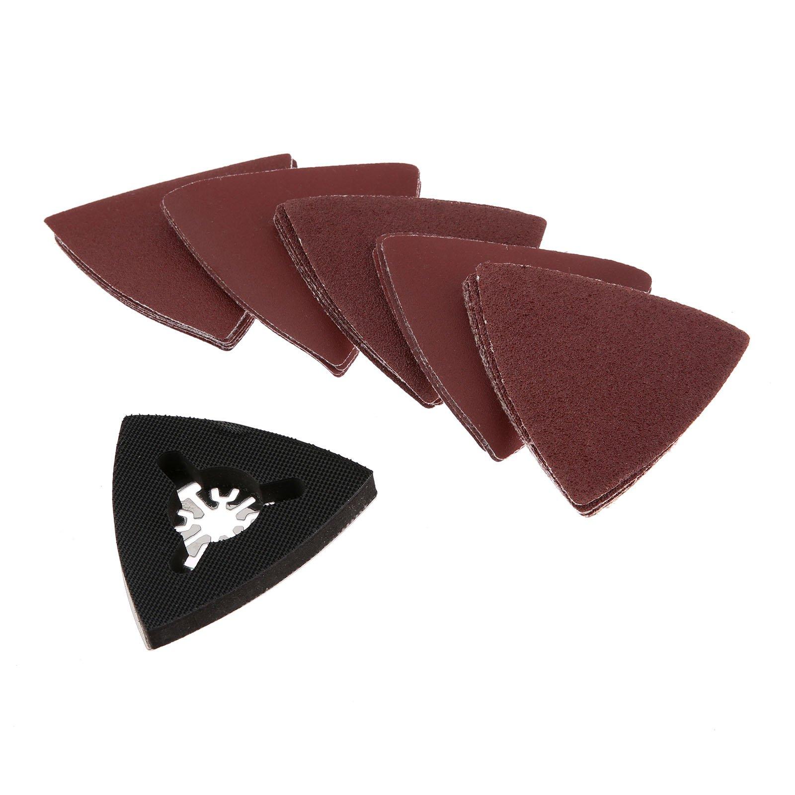 26Pcs Sanding Paper & Triangular Sanding Pad Fits For Fein Dremel Multifunction Oscillating Power Multi Tools