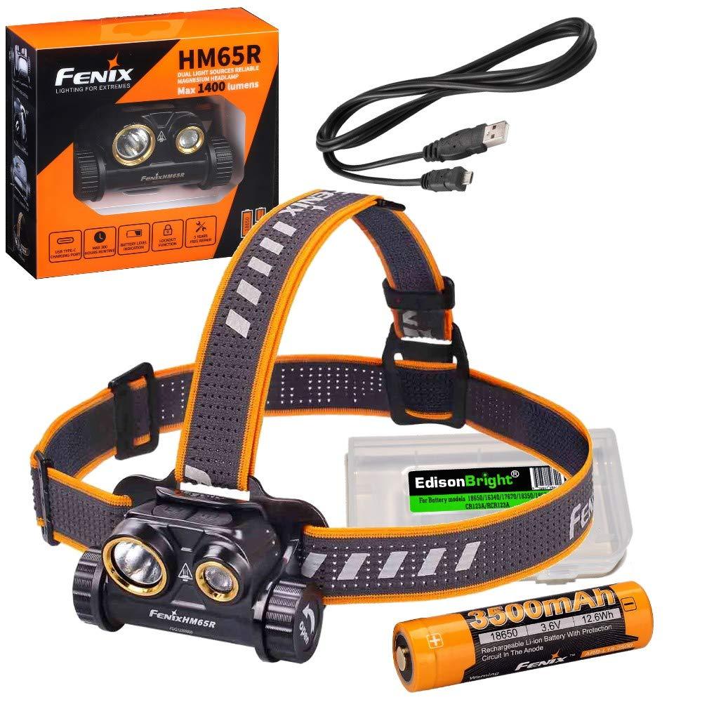 Fenix HM65R 1400 lumen dual beam LED Headlamp, high capacity battery with EdisonBright battery carry case bundle by Fenix