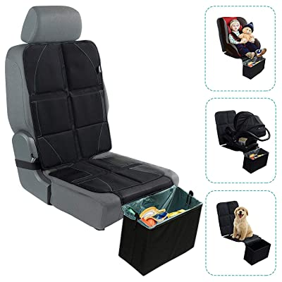 Car Seat Protector with Trash Can - Waterproof Car Seat Pad and Collapsible Trash Bin - Adjustable Auto Seat Protector Under Car Seat Designed to Fit All Vehicles + Bonus Trash Liners by BabySeater: Baby