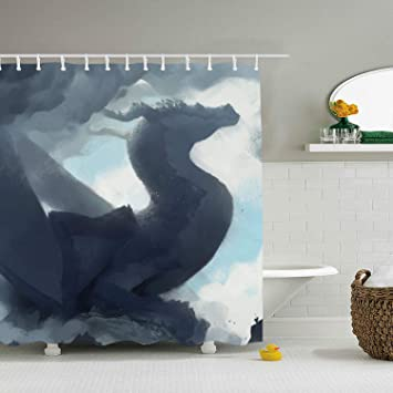 Amazon EFLN Fabric Fantasy Dragon Cloud Shower Curtain Spa