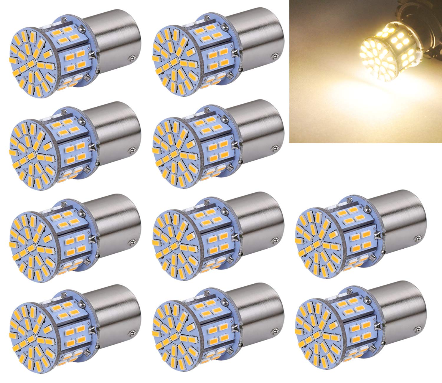 Aucan Super Bright 1156 1141 1003 1073 BA15S 7506 S25 P21W 50-SMD 3014 LED Replacement Light Bulbs for RV Indoor Lights Warm White (pack of 10) Aucanled