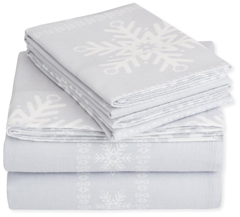 Amazon Pinzon Flannel Sheet Set – Queen Snowflake Grey Home