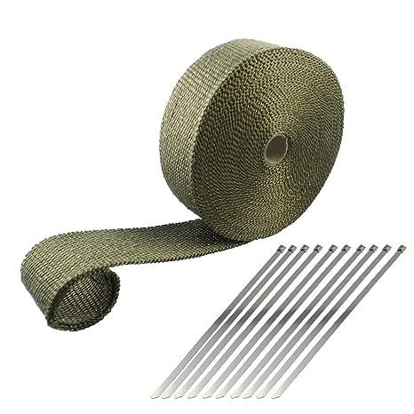 10m x 50mm Hitzeschutzband Auspuff Band Heat Wrap Titan Mit 10 Kabelbinder Neu