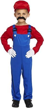 Age 4-12 Kids Super Mario Bros Video Game Boys Childrens Fancy Dress Costume