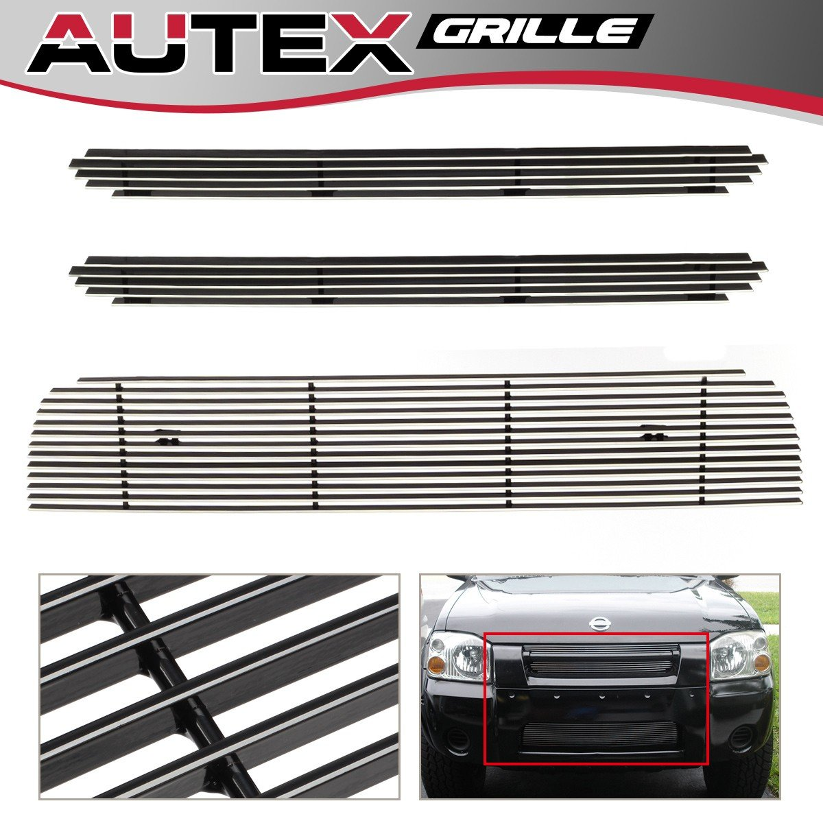 AUTEX Main Upper+Lower Billet Grill Insert Compatible with 2001 2002 2003 2004 Nissan Frontier Grille Combo N87987A