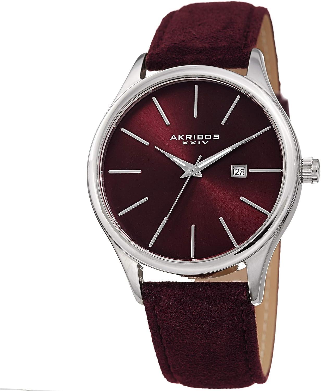 Akribos XXIV AK1019 Men s Suede Leather Watch Classic Round Casual Designer Wristwatch Date Window Sunray Dial