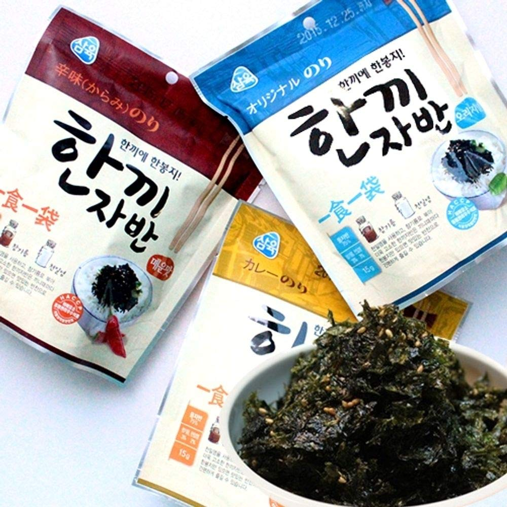Seasoned Seaweed (Original 15g, Spicy 15g, Curry 15g) x 3