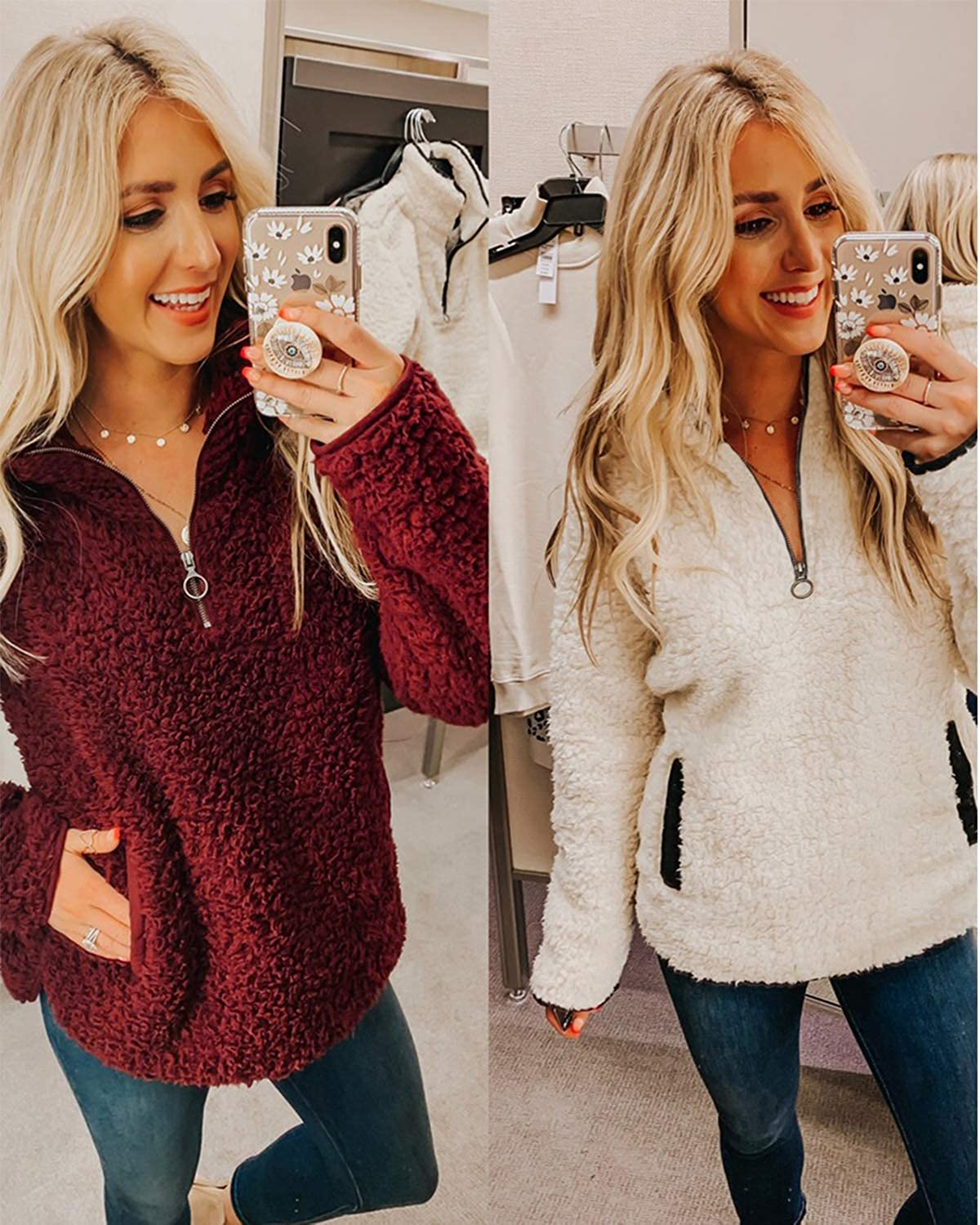 Yidarton Womens Fuzzy Fleece Pullover Casual Zip Up Fluffy Sweatshirt Long Sleeve Stand Collar Cozy Coat Tops with Pockets Wine Red