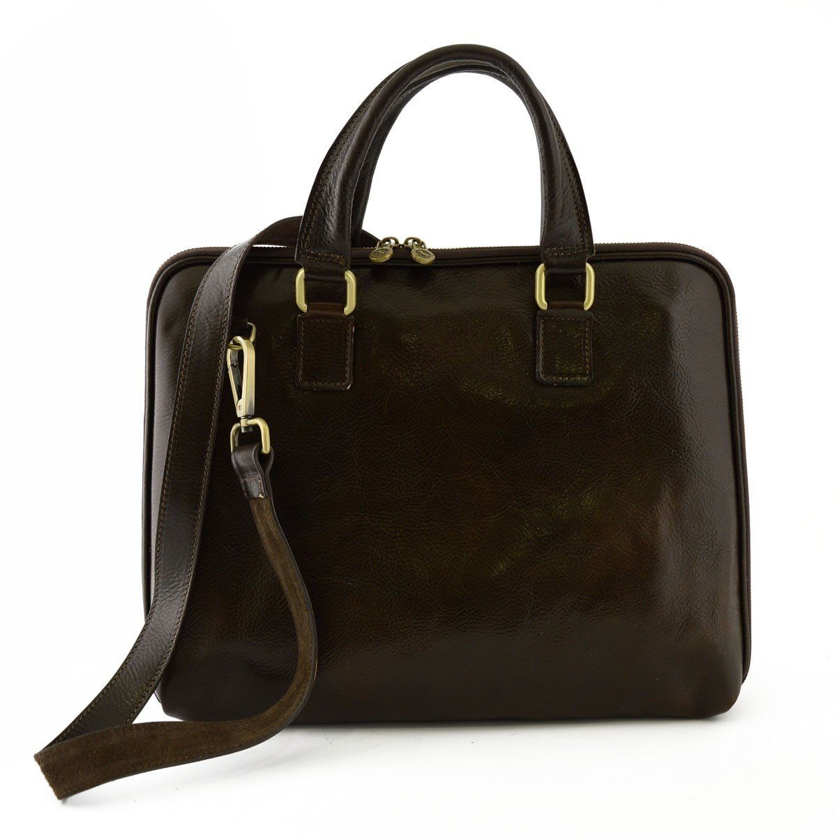 Made In Italy Genuine Leather Briefcase With Zip Closure And Side Bellows Color Dark Brown - Business Bag B01BOGNONI