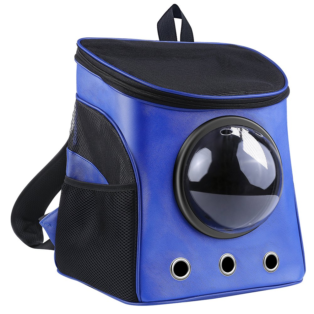 lolhpby Creative Pet Carrier Backpack- Traveler Bubble Backpack- Capsule Knapsack for Cats, Dogs and Petite Animals- Breathable Pets Carrier for Outdoors- Portable/Transparent Window(Blue)