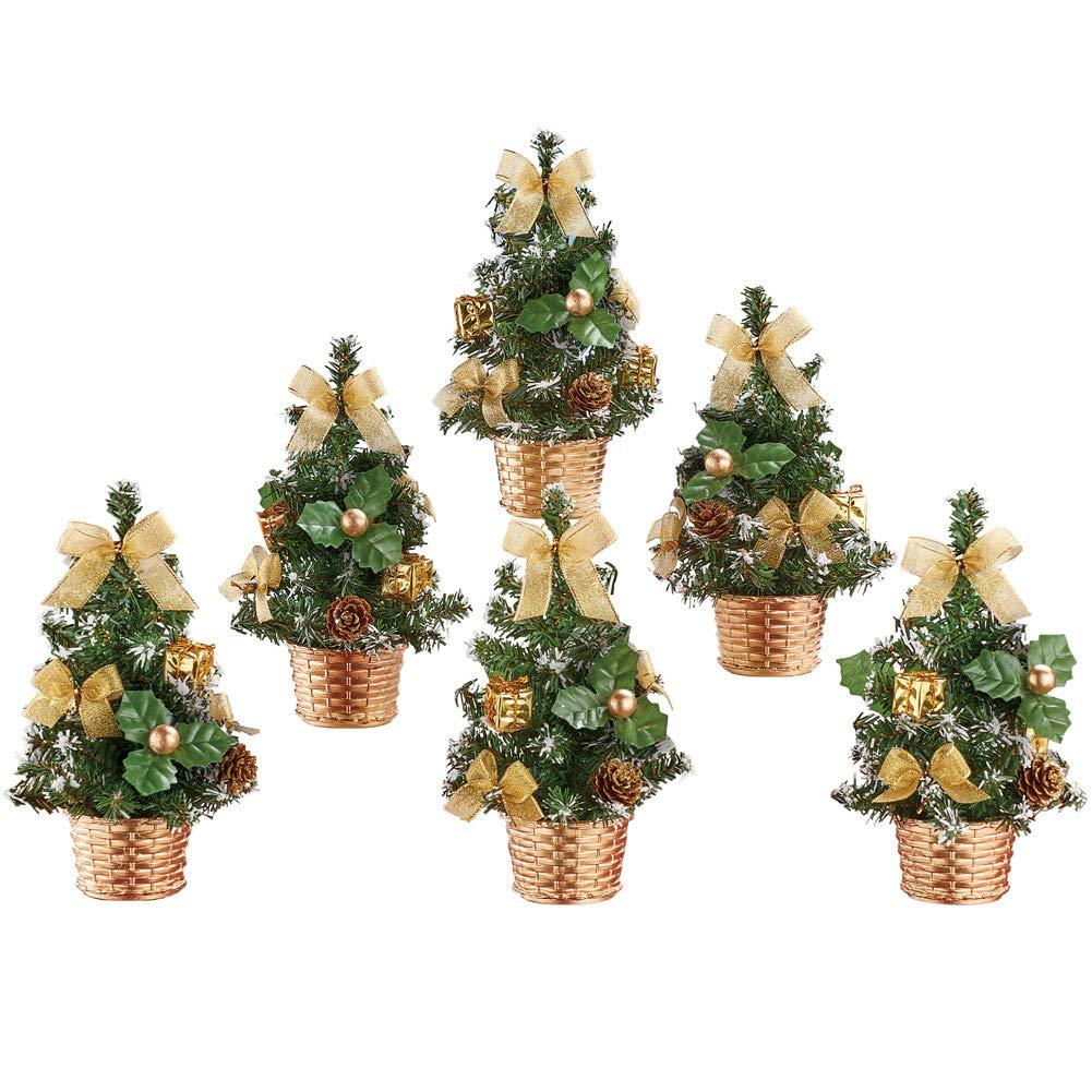 Collections Etc ミニゴールドクリスマスツリーセット 6 B07JH8XWYC