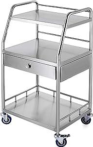 VEVOR Shelf Stainless Steel Catering Medical Dental Lab Rolling Cart Commercial Wheel Dolly Restaurant Dinging Utility Services (2, 3 Shelves/ 1 Drawer
