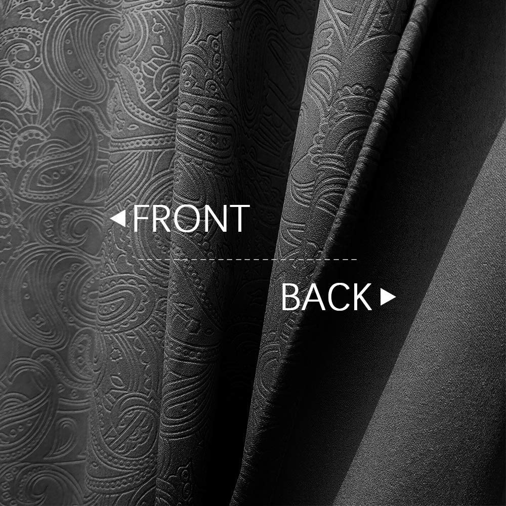 Black Blackout Curtains for Bedroom 63 Paisley Curtains Thermal Insulated Curtain Panels Window Treatment Set for Summer 50 W x 2 Panels