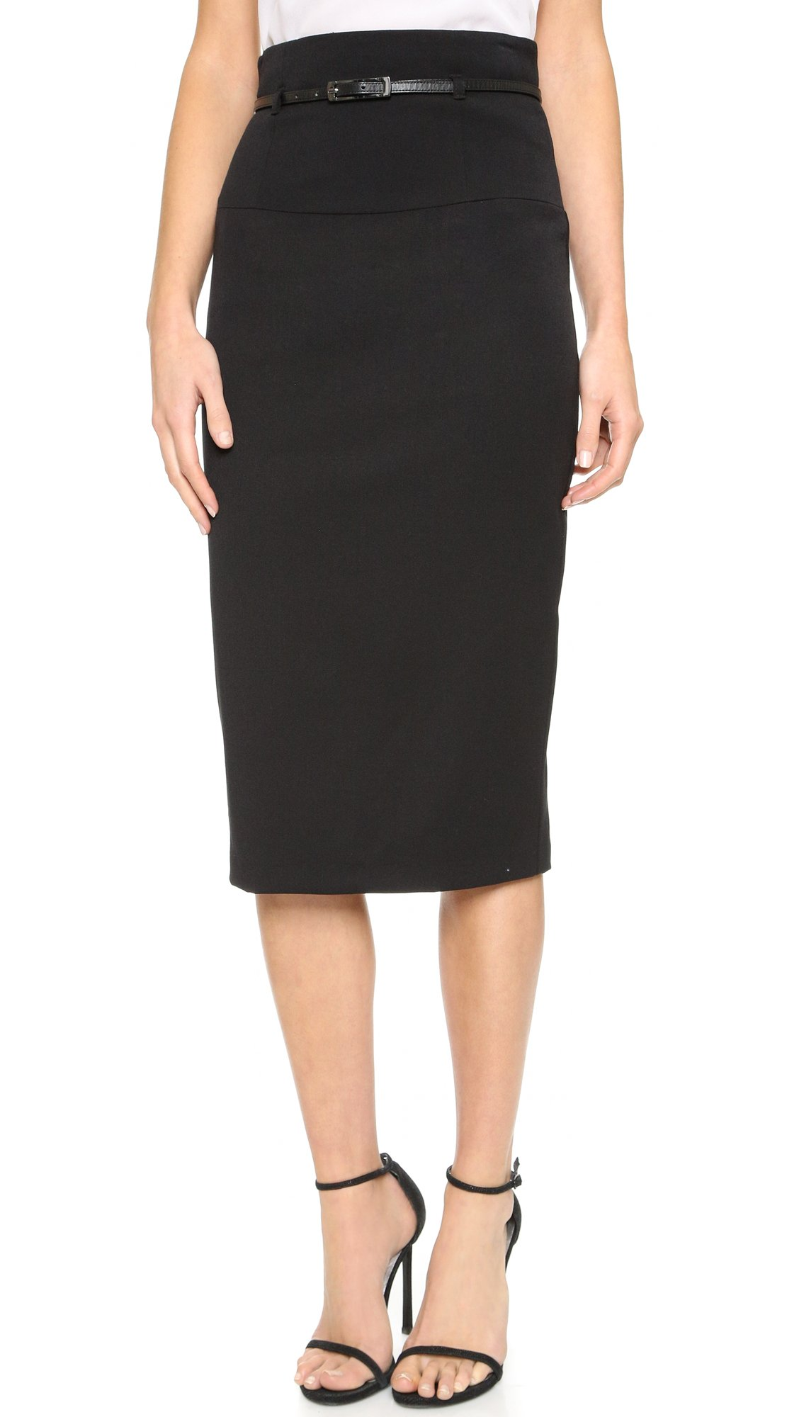 Black Halo Women's High Waisted Pencil Skirt, Black, 2