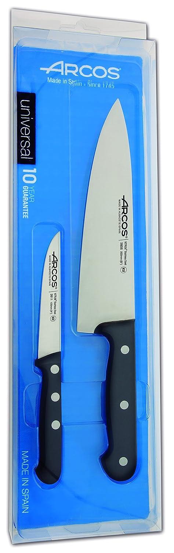 Arcos Serie Universal - Juego de Cuchillos de Cocina de 2 piezas - Hoja de Acero Inoxidable NITRUM - Mango de Polioximetileno (POM) Color Negro