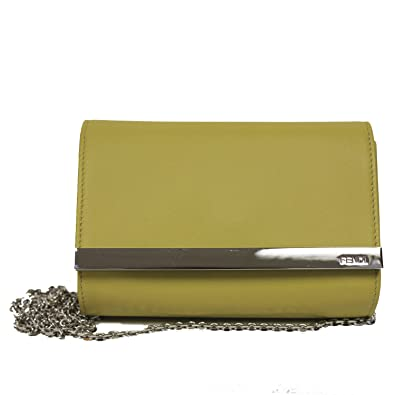 61833003e063 FENDI Mini Rush Clutch Evening Bag Mustard Yellow Leather Chain Cross Body Shoulder  Handbag 8M0322  Handbags  Amazon.com