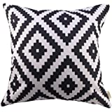 HOSL Black and Withe Geometry Decorative Throw Pillow Cover Cushion Case Pillow About 18-Inch