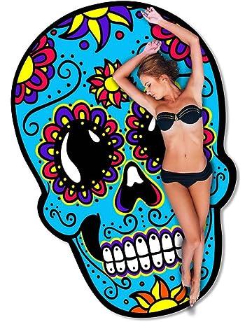 Toalla Playa a diseño de calavera mexicano