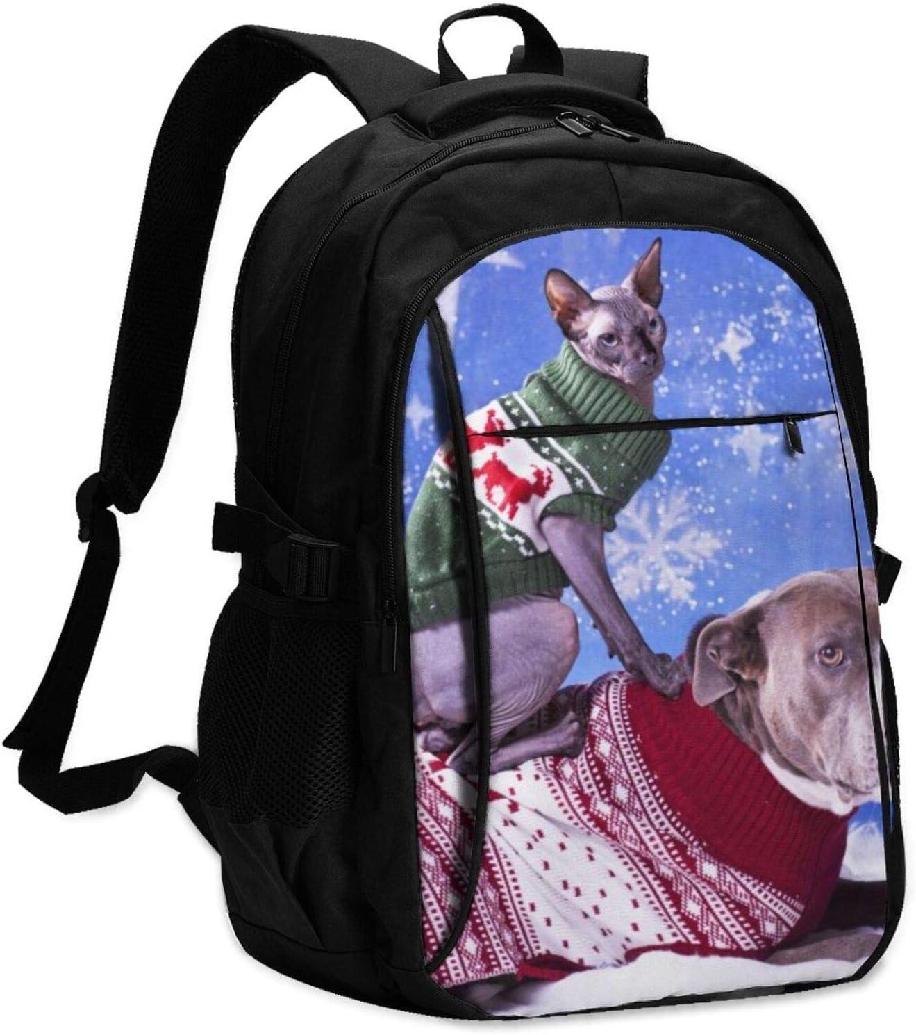 XCNGG Mochila USB con múltiples Bolsillos, Mochila Informal, Mochila Escolar Christmas Pitbull and Sphynx Cat Travel Laptop Backpack with USB Charging Port Multifunction Work School Bag