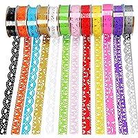 Kanten patroon zelfklevende tape, Qtopun 12 rollen Glitter Bling Sticker kleurrijke kleverige papieren tape voor doe-het…