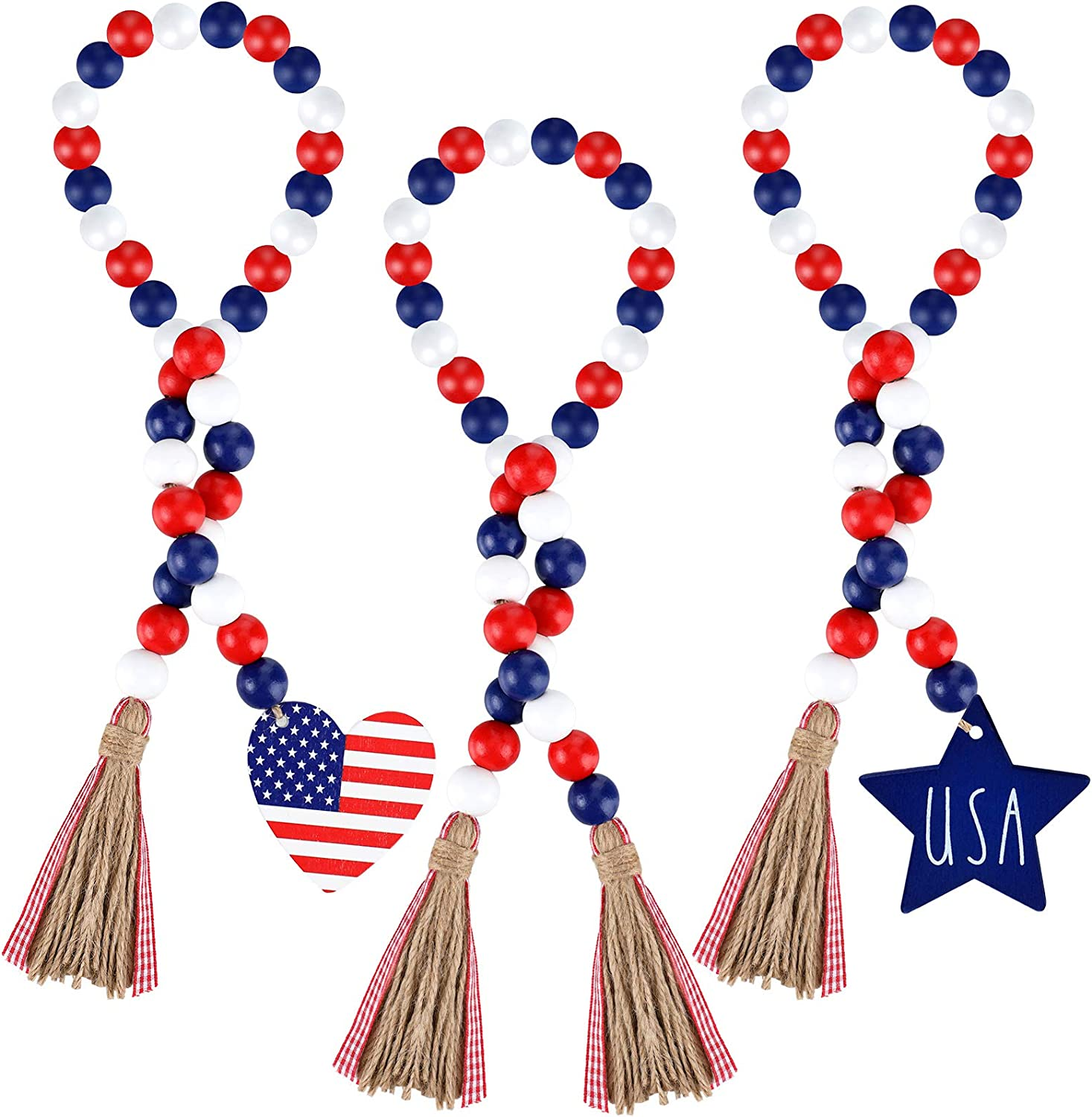 Jetec 3 Pieces Independence Day Wood Bead Garland with Rustic Tassels Patriotic Wood Bead with American Flag and Wooden Heart Hanging Sign for Farmhouse Wall Hanging Prayer Beads and Boho Home Decor