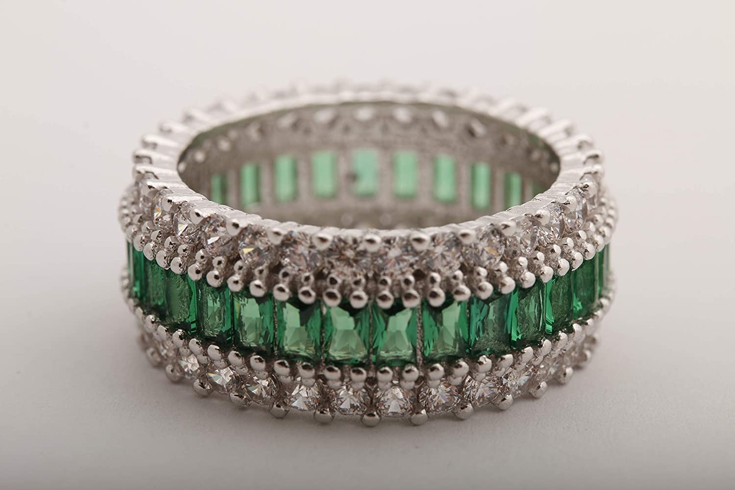 Turkish Handmade Jewelry Baguette Shape Emerald and White Topaz 925 Sterling Silver Rhodium Band Ring Size Options New Special Design