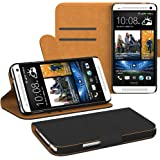 HTC One (M7) Hülle Bookstyle mit Standfunktion I von EAZY CASE I Book-Style Case aufklappbar, Schutzhülle, Flipcase, Flipstyle, Flipcover mit 2 Kartenfächern aus Kunstleder, Schwarz