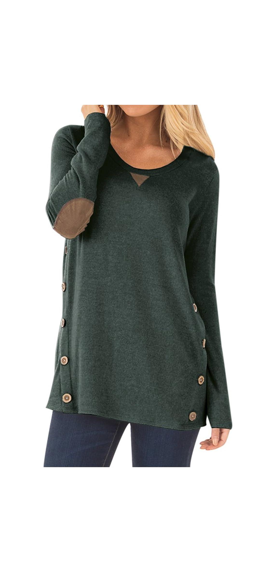 Women's Casual Long Sleeve Faux Suede Loose Tunic Shirt