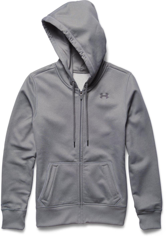 Under Armour Women's Storm Armour Fleece Big Logo Full Zip Hoodie, True Gray Heather (025)/Graphite, Large