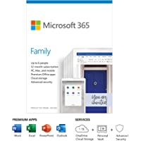 Microsoft 365 Family   Office 365 apps   up to 6 users   1 year subscription   Multiple PCs/Macs, Tablets and Phones…
