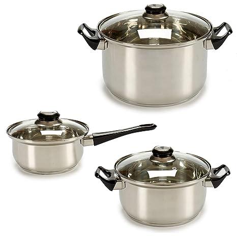 TU TENDENCIA UNICA Batería de Cocina de Acero Inoxidable de 6 Piezas Apta para Todas Las cocinas. Compuesta por 1 Cazo y 2 Cacerolas con Tapas de ...
