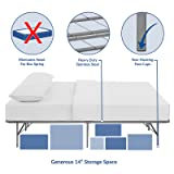 Modway Horizon Queen Bed Frame in Silver - Replaces Box Spring - Folding Portable Metal Mattress Bed Frame with Storage - Low Profile - Heavy Duty