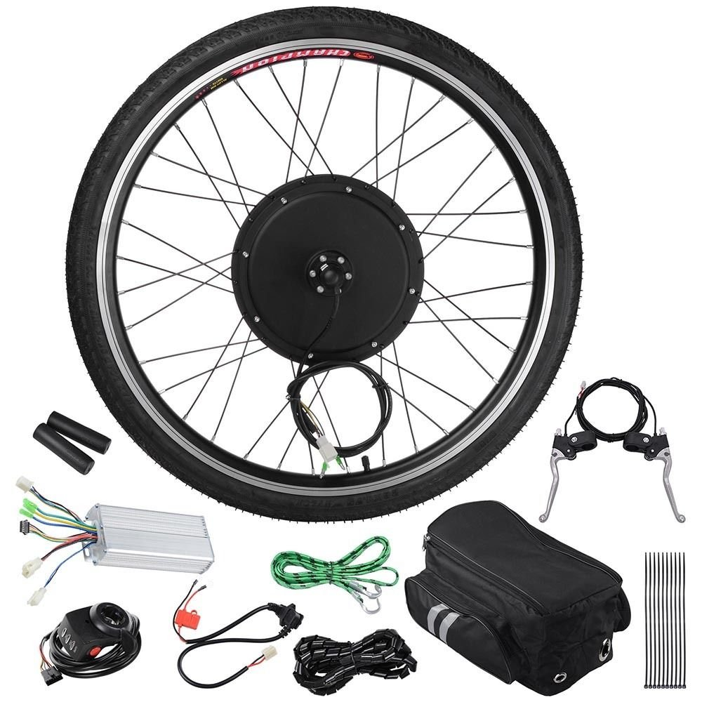 GHP 48V 1000W 470RPM Brushless Hub Motor & 26'' Front Wheel Bicycle Kit w Carrying Bag