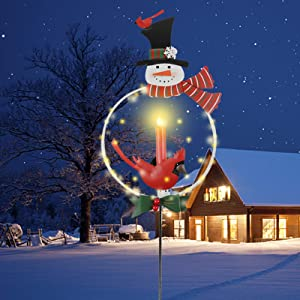 MorTime Christmas Garden Stake Decor, Lighted Solar Metal Snowman Yard Stakes with LED Lights for Home Outdoor Yard Lawn Pathway Walkway Driveway Christmas Holiday Winter Decoration