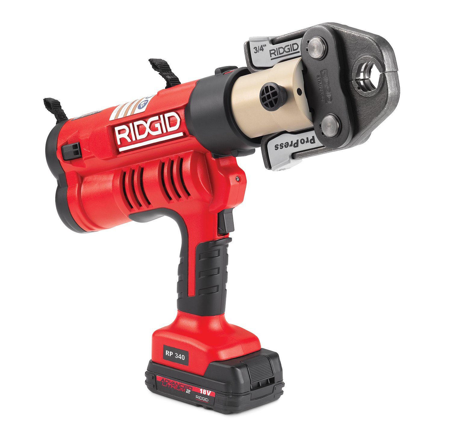 RIDGID RP 340-B Press Tool - 43348 Hydraulic Crimping Tool Jaws Not Included - ProPress Tool Jaws, PureFlow MegaPress, Standard Series Jaws and Rings Compatible (Cordless)
